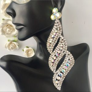 ❗️NEW LONG WHITE & AB STONES PROM PAGEANT EARRINGS